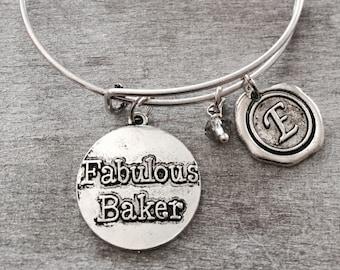 SALE, Fabulous baker, Silver Bracelet, Charm Bracelet, baking gift, rolling pin, cupcake, muffin, Baker Gift, Chef, Bangle Bracelet, Gifts