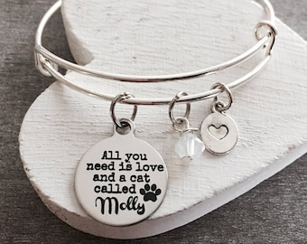 All you need is love, and a cat called, Cat Lover, cat mom, Cat Jewelry, Cat Gift, Cat Rescue, Cat adoption, Silver Bracelet, Charm Bracelet