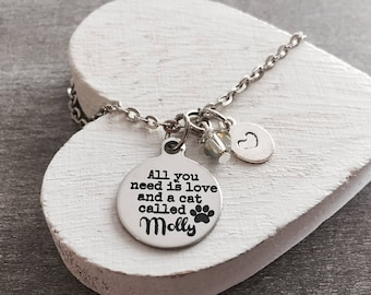 All you need is love, and a cat called, Cat Lover, cat mom, Cat Jewelry, Cat Gift, Cat Rescue, Cat adoption, Silver Necklace, Charm Necklace