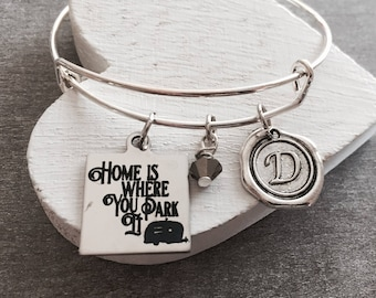 Home is, where you park it, Trailer, Camper, Caravan, RV, camping trailer, Camping, Silver Bracelet, Charm Bracelet, Silver Jewelry, Gifts