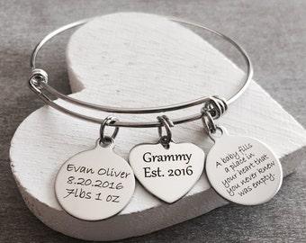 Grammy Est 2016, Silver Bracelet, Grammy Est 2017,  Grammy Bracelet, New Grammy jewelry, First time, Grammy, GIfts, Custom, Personalized