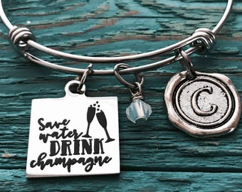 Save water, drink Champagne, Champagne, Champagne girl, Champagne glass, Wedding, Bride, Friend, Gifts for, Silver Bracelet, Charm Bracelet