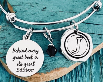 Customized book name Author Gift Author Book Charm Bracelet Gifts for Silver Bracelet Stainless Steel gift for writer Published