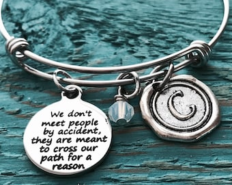 Cross our path, for a reason, Leaving, Goodbye, Friend, friendship, Memorial, Retirement, Silver Bracelet, Charm Bracelet, Gifts for