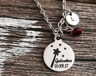 Fairy Wand, Godmother, Gifts for, Godmother Necklace, God Mother, Baptism date, Charm Necklace, SIlver Necklace, Custom, Baptism, gifts for