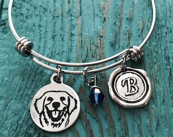 golden retriever, Labrador Retriever, Puppy, Retriever, Retriever mom, Silver Bracelet, Charm Bracelet, golden retriever Gifts, Dog, Gifts