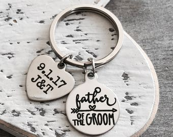 FATHER OF GROOM, Father of the Groom, Grooms Father, Dad of the Groom, Grooms Dad, Gifts for, Silver Keyring, Silver Keychain, Customized