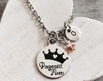 Pageant mom, Tiara, Crown, Pageants, Pageant Princess, Pageant mommy, Silver Necklace, Silver Jewelry, Charm Necklace, gifts for, customized