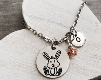 Bailee the bunny, Bunny, Rabbit, Memorial, Rabbit Necklace, Bunny Jewelry, Teenager, Silver Necklace, Charm Necklace, Silver Jewelry, Gifts