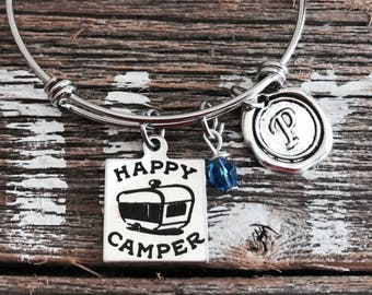 Home sweet home, Home is, where you park it, Trailer, Camper, Caravan, RV, Camping, Silver Bracelet, Charm Bracelet, Silver Jewelry, Gifts