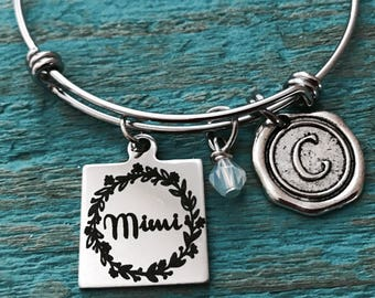 Mimi, MIMI BANGLE, Silver Bracelet, Charm Bracelet, Mimi Gift, Mimi Jewelry, Mimi Bracelet, Mimi Charm, Stainless steel, Bangle Bracelet