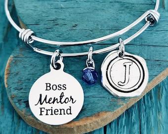 Boss mentor friend, Mentor, Friend, Boss, Best Boss, Number 1 boss, Silver Bracelet, Charm Bracelet, Gifts for, Silver Jewelry, friends