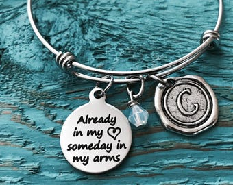Infertility, Fertility, Already in my, heart someday, in my arms, Baby Adoption, new mom adoption, Silver Bracelet, Charm Bracelet