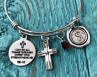 Philippians 4:13, I Can Do All Things Through Him Who Strengthens Me , Scripture, Faith,Religious, Christian, Bible Verse, Charm Bracelet