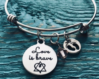 Love is brave, Birthmother, Birth Mom, Birth Mother, Baby adoption, Silver Bracelet, Charm Bracelet, Silver Jewelry,  Keepsake, Gift for