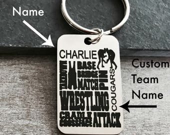 wrestling, wrestling mom, Wrestler's Mom, Wrestler's Jewelry, Wrestler, Personalized, customized, Stainless steel, Keychain, Gifts for