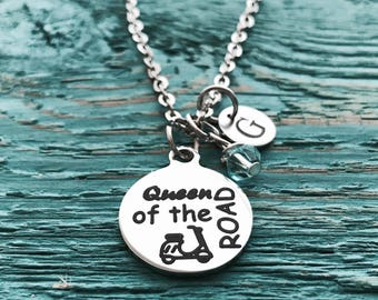 Queen of the road, Scooter, Scooter lady, Italian, Scooter driver, Scooter Necklace, First Scooter, Gifts, Silver Necklace, Charm Necklace