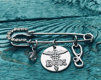 Bachelor of Science, Nursing Degree,BSN, Silver Kilt Pin Brooch, Silver Brooch, silver kilt pin, pinning ceremony, Thank you, Gifts, Jewelry