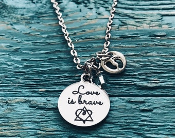 Love is brave, Birthmother, Birth Mom, Birth Mother, Baby adoption, Silver Necklace, Charm Necklace, Silver Jewelry, Keepsake, Gift for
