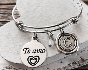 Te amo, I love you, Spanish, Wedding, Anniversary, Daughter, Niece, Wife,  silver bracelet, Charm Bracelet, Silver Jewelry, Gifts for