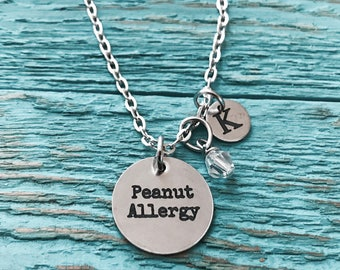 Medical Alert, Medic alert, Peanut Allergy, Nut Allergy, food allergy, Emergency, Peanut allergy Gifts, Silver Necklace, Charm Necklace