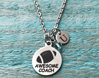 Football, Awesome Coach, Silver Necklace, Football Necklace, Football coach, Football Gifts, Football coach, Charm Necklace, Gifts for