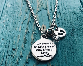 We promise to take, care of HIM always, Birthmother, Birth Mom, Birth Mother, Baby adoption, Silver Necklace, Charm Necklace, Keepsake, Gift