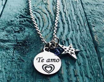 Te amo, I love you, Spanish, Wedding, Anniversary, Daughter, Niece, Wife, silver necklace, Charm Necklace, Silver Jewelry, Gifts for