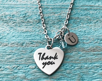 Thank you, Thank you Gift, Thank you Jewelry, Thank you Necklace, Appreciation gift, Silver Jewelry, Charm Necklace, Teacher Gift, Gifts