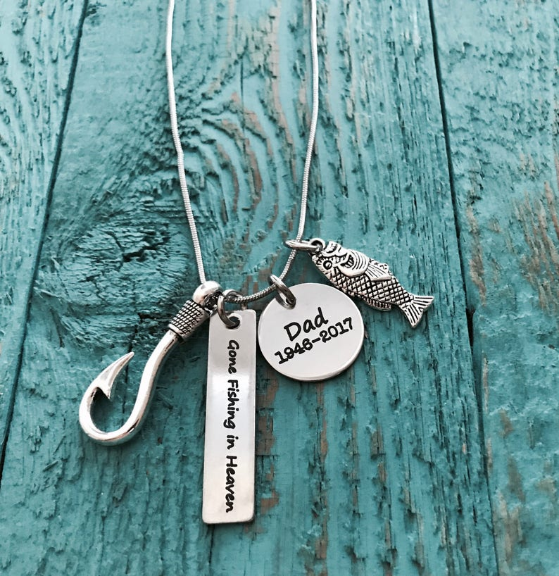 Dad loss of loved one Daddy Memorial Gift Grandfather Father Silver Necklace Bereavement Grandpa fish hook Gone fishing in heaven