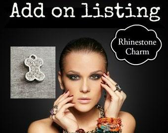 Rhinestone Charm, Crystal Charm, ADD-ON Charm, Add on Charm, Silver Charm, Personalize your order