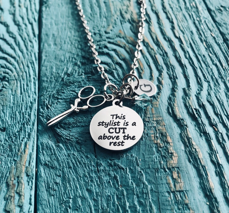 Charm Necklace Hairstylist cut above the rest This stylist is a Silver Necklace Silver Jewelry beauty school Stylist Hairdresser