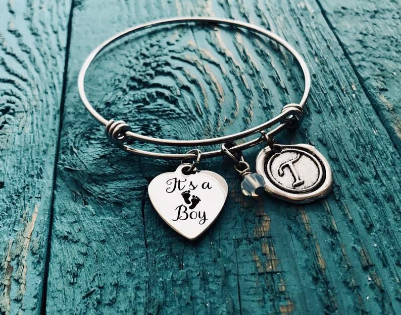 Its a Boy Gender Reveal Gift First Time Mom Baby Boy Baby Shower Gift Charm Bracelet Silver Bracelet Baby Shower SALE New Mom