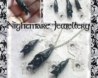 Bat necklace and earring set. Featuring cute sleepy bats Handmade and unique