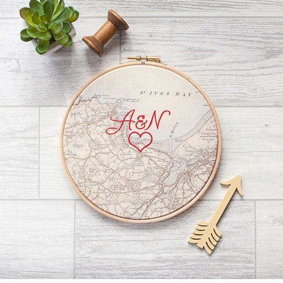 Cotton Wedding Anniversary Gifts For Him: Cotton Anniversary Gift: Vintage Map In 7 Wooden Hoop