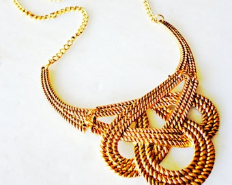 Gold Love Knot Necklace, Statement Necklace, Vintage Bib Necklace, Choker Necklace, Retro Necklace