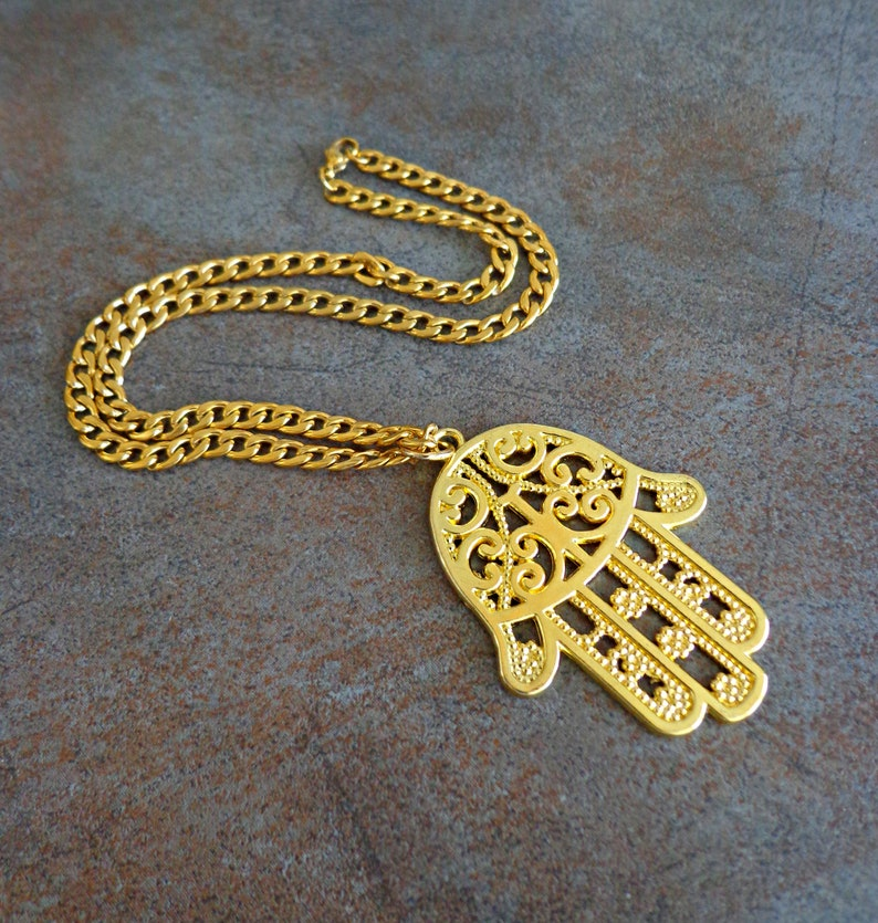 Protection Necklace Large Hamsa Statement Jewelry Gold Hand of Hamsa Necklace Meaningful Jewelry Hand of Fatima Necklace