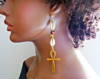 Gold Ankh Dangle Earrings, Egyptian Earrings, Statement Jewelry, Egyptian Cross Earrings, Urban Chic Jewelry, Light Weight Long Earrings