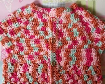 Girls cardigan, toddler cardigan, crocheted cardigan, summer cardigan, girls sweater, girls crochet cardigan, 3-5 years