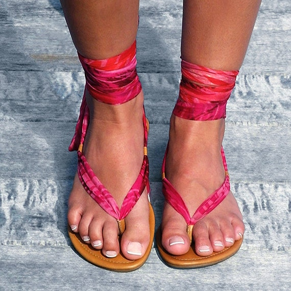 0b48e2bfb2d Handmade leather and silk chiffon ankle wrap sandals
