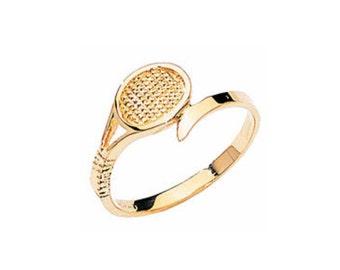 14kt yellow gold tennis racket ring