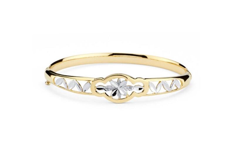 58e7dcc29a7fb 14K Two-Tone Gold Fancy Bangle, Fancy Bangle, Fancy Jewelry, Gold Jewelry,  Gold Bangle, Bangle Jewelry, Yellow Gold Bangle, Gold, Bangle
