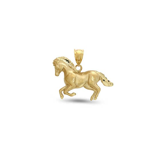 Animal Jewelry Pendant 14k Solid Gold Gold Horse Charm Galloping Horse