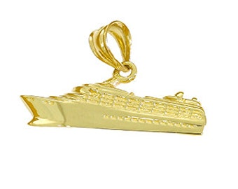 14k solid gold cruise ship pendant. cruise ship pendant. bon voyage.