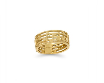 14k solid gold music note band. music note ring, theater ring.
