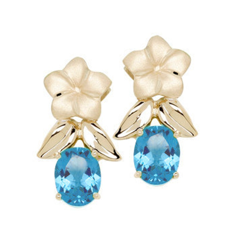 445fefb4828c6 14k solid yellow gold plumeria earrings with blue topaz stones