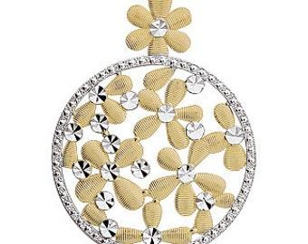 14k gold two tone flower pendant. Floral pendant, daisy pendant,flowers, floral,
