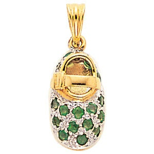 14kt yellow gold baby shoe birthstone) with emerald (May birthstone) shoe f9ac77