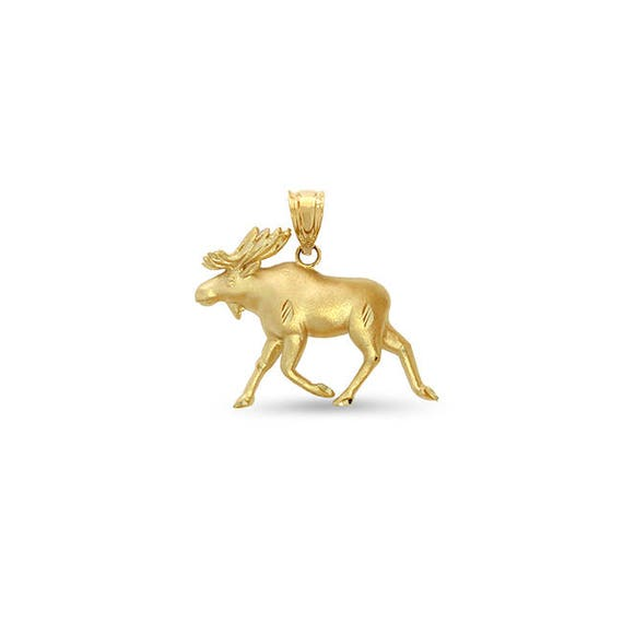 14k 3-D Moose Pendant