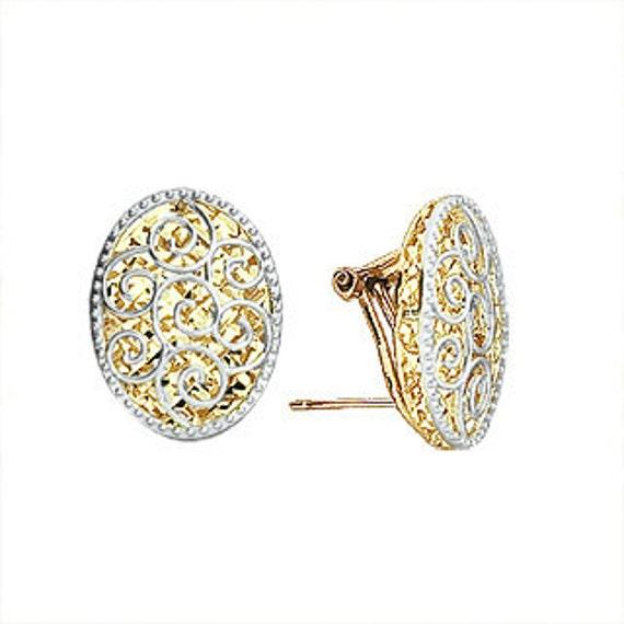 Mia Diamonds 14k Yellow Gold Plumeria French Wire Earrings